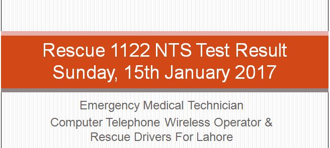 Rescue 1122 (Recruitment Test) result