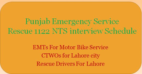 NTS Rescue 1122 Interview List of candidates
