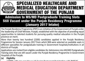 admission in Special Health Care & Medical Education Department
