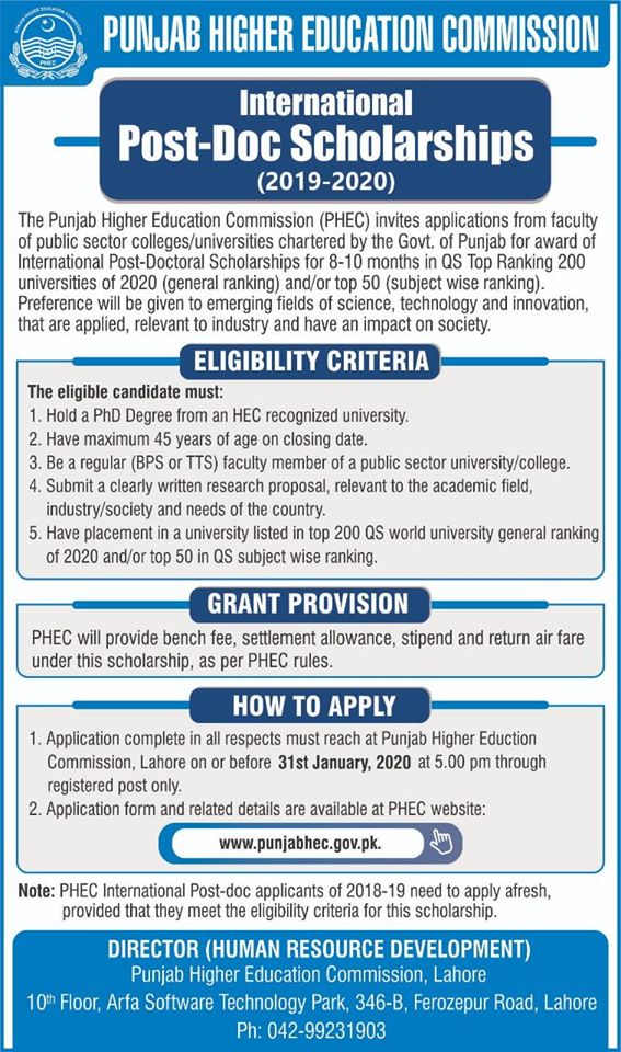 Punjab Higher Education Commission (PHEC) International Post-Doctoral Scholarships 2020