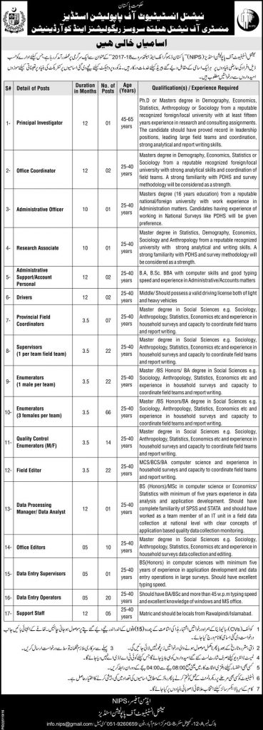 Jobs in National Institute of Population Studies