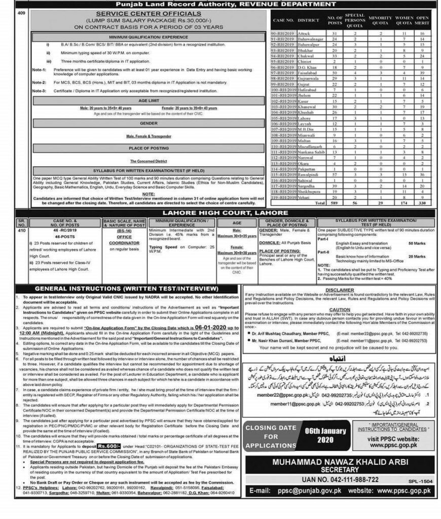 Punjab Land Records Authority (PLRA) Jobs 2020