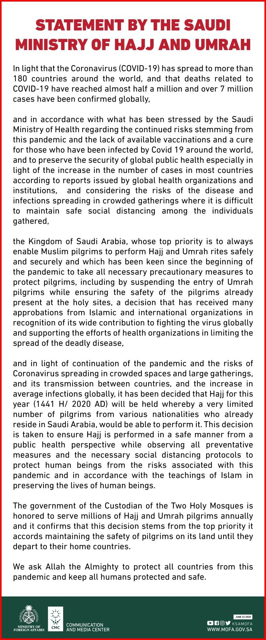 Saudi Ministry of Hajj and Umrah Saudi Arabia Hajj Policy 2020