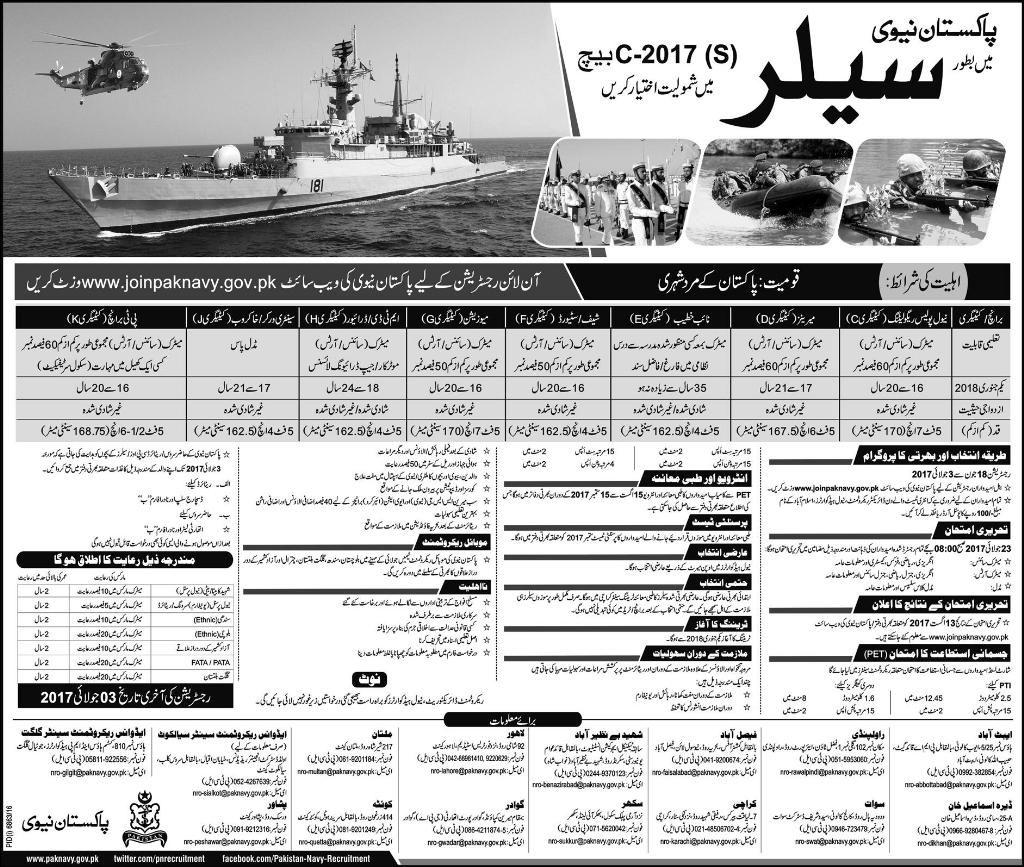 Pakistan Navy Jobs 2017