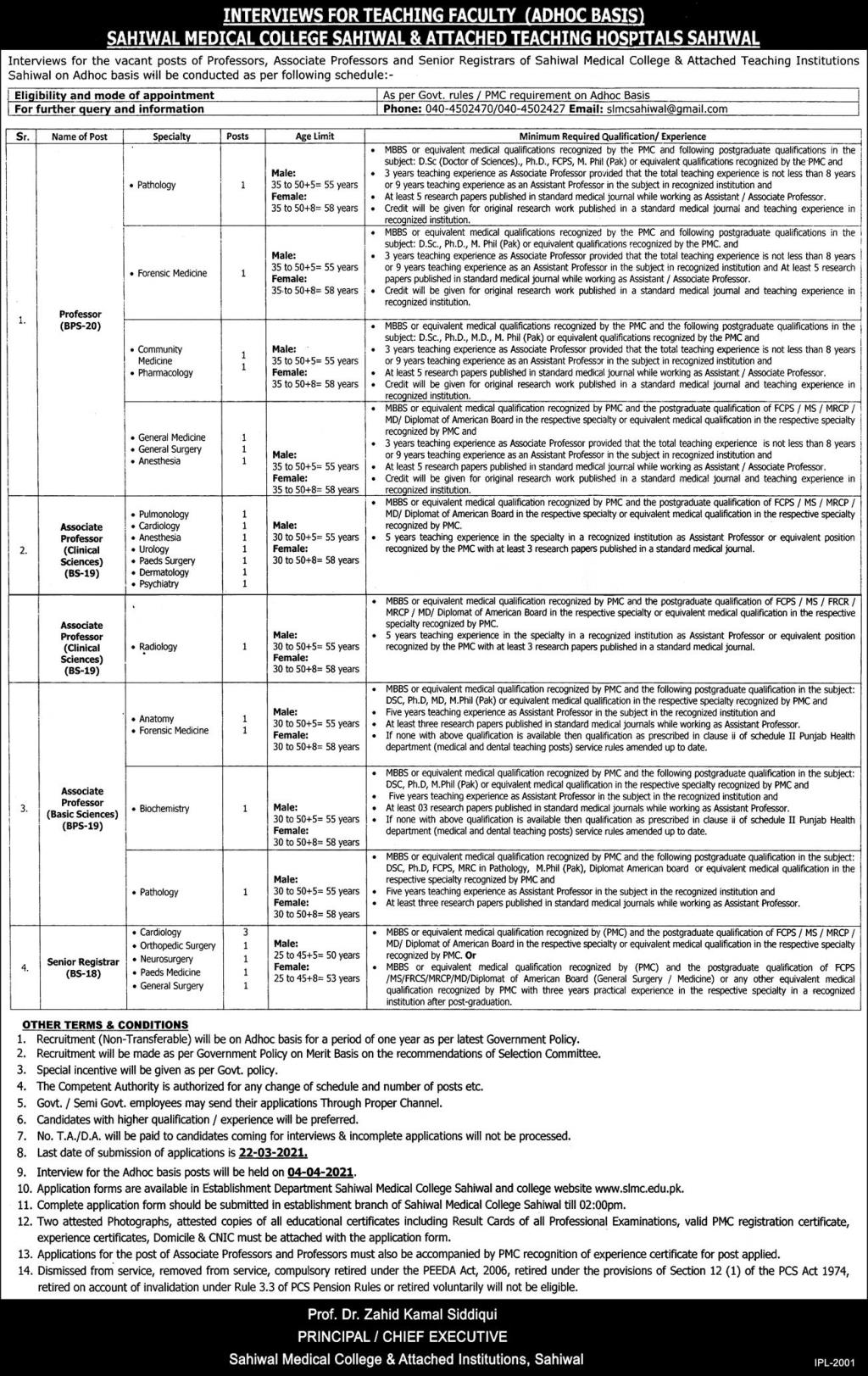 Sahiwal Medical College Jobs 3rd March 2021