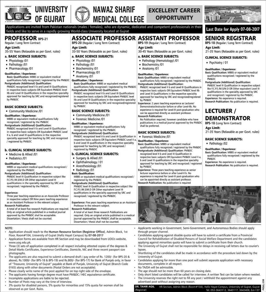 Jobs in Nawaz Sharif Medical College University of Gujrat