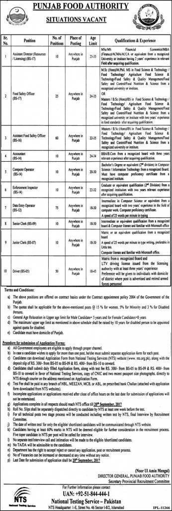 Punjab Food Authority Jobs 2017