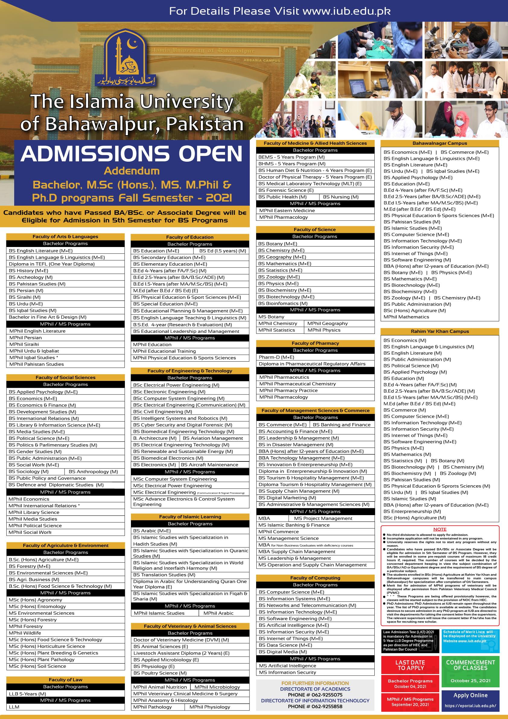 IUB MPhill/MS/Msc(hons)MBA & PhD Programs Admission Fall 2021