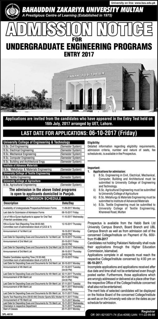 Admission Notice BZU Admission Under Graduate Engineering Program