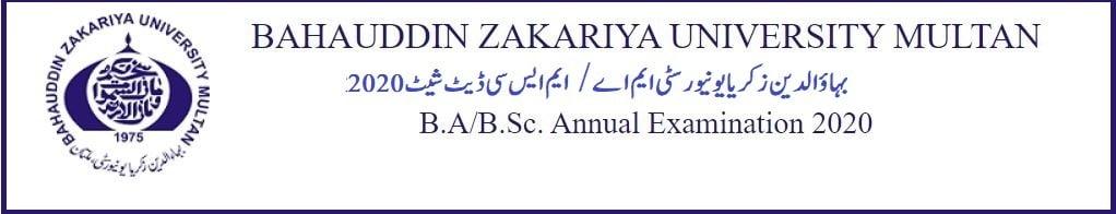 Bahauddin Zakariya University M.A/M.Sc date sheet 2020