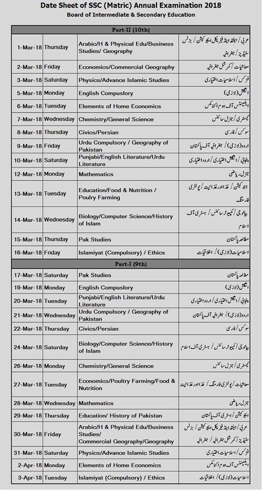 Board of Intermediate and Secondary Education(BISE) Lahore date sheet 2018
