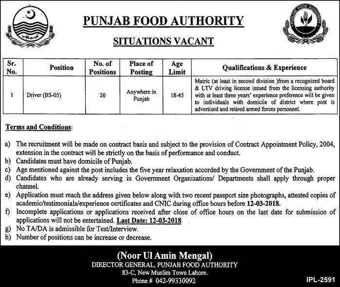 Punjab Food Department  Driver Jobs