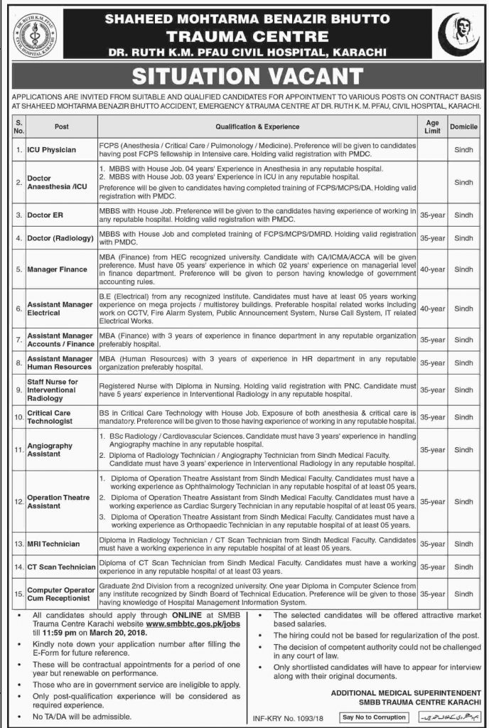 Shaheed Mohtarma Benazir Bhutto Trauma Center Karachi Jobs