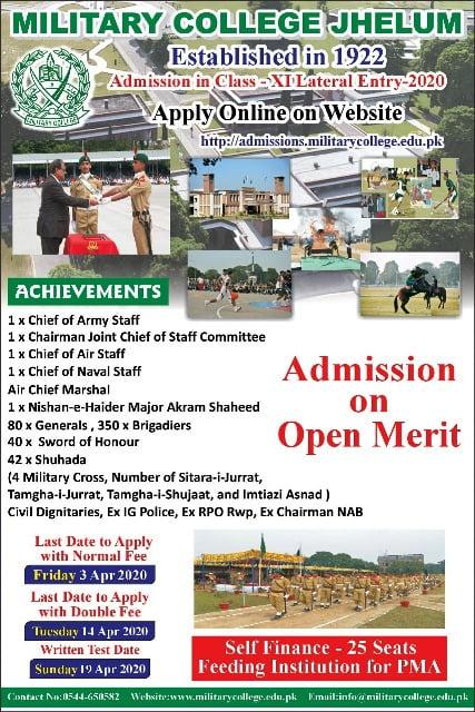 Military college jhelum 1st year admission 2020