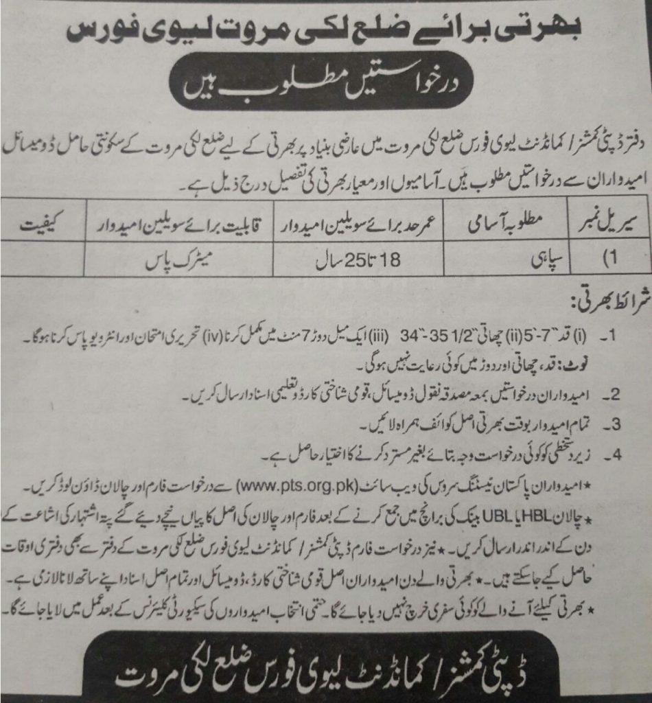 Deputy Commissioner & Commandant District Lakki Marwat PTS Jobs