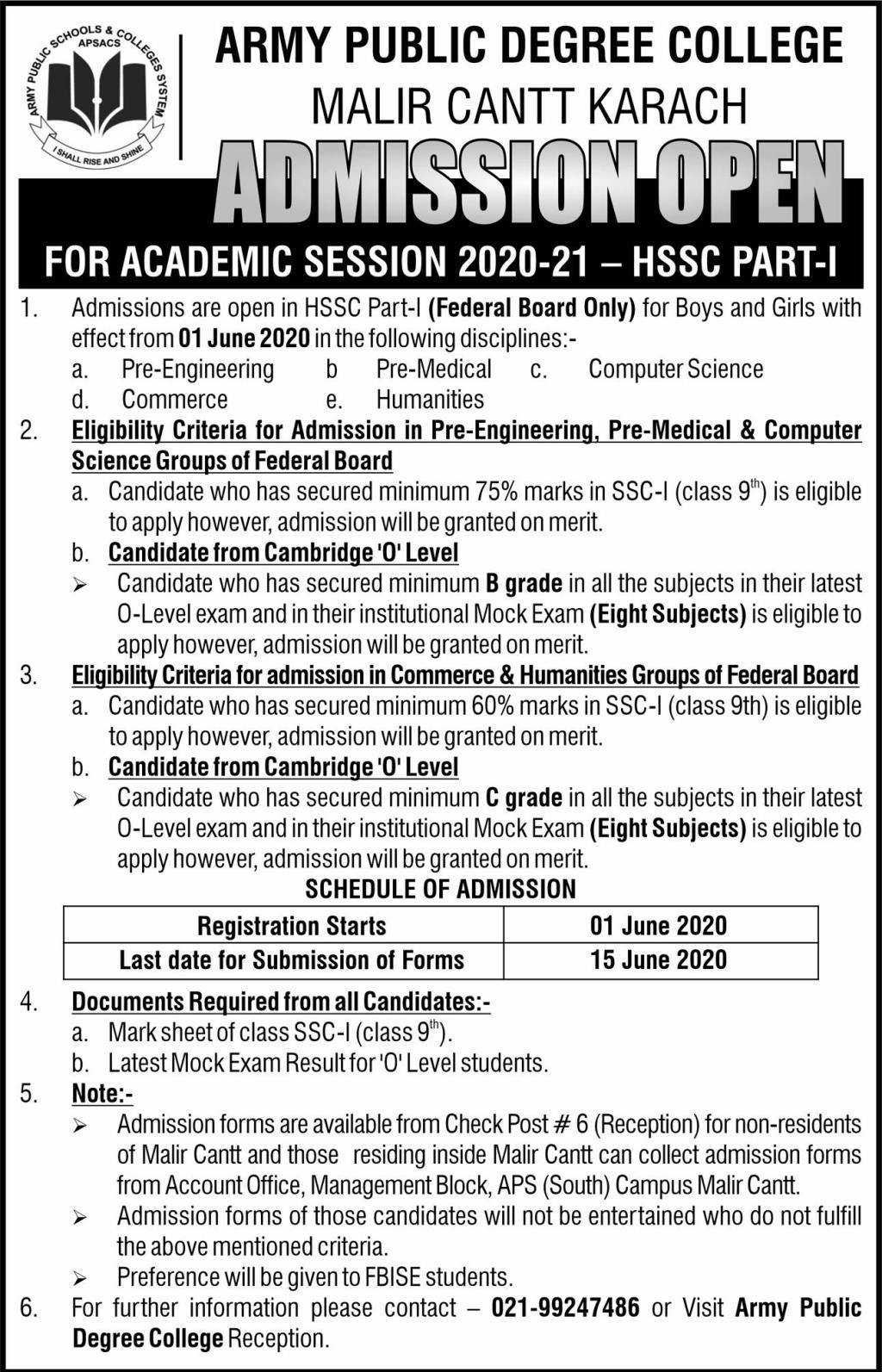 Army Public Degree College Malir Cantt Admission 2020-21