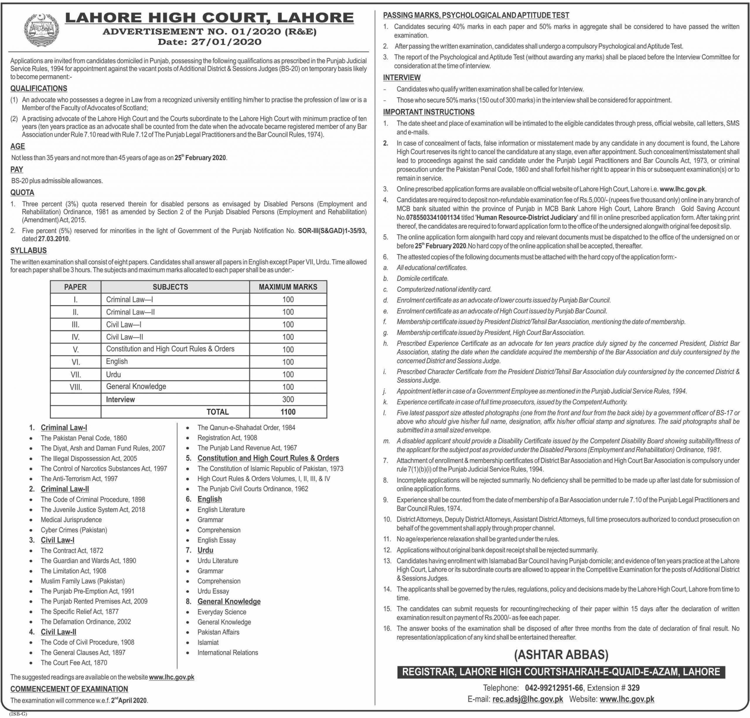 LHC District & Sessions Judges (BS-20) Jobs 2020