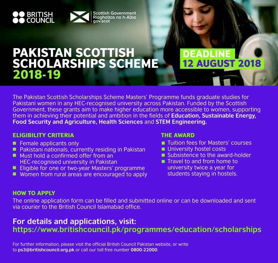 scottish scholarship for pakistani students 2018