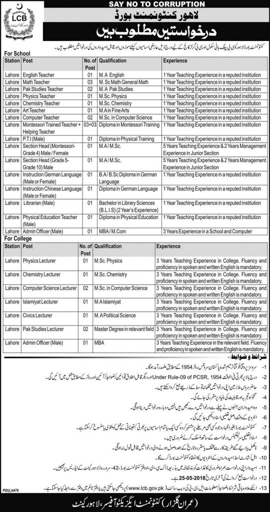 lahore cantonment board jobs 2018
