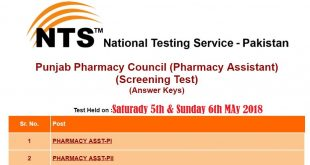 Punjab Pharmacy Council Pharmacy Assistant NTS Answer Keys