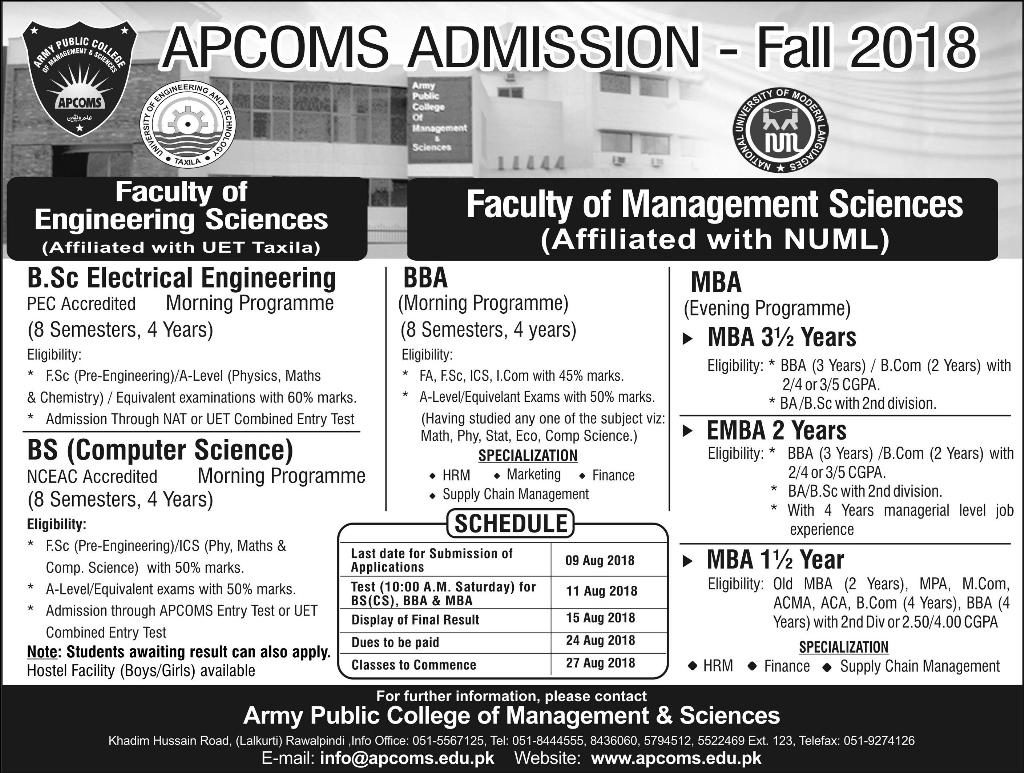 APCOM Admission Fall 2018