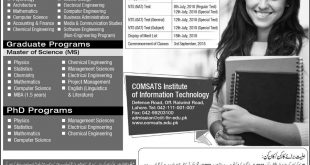 COMSAT Admissions for Fall 2018