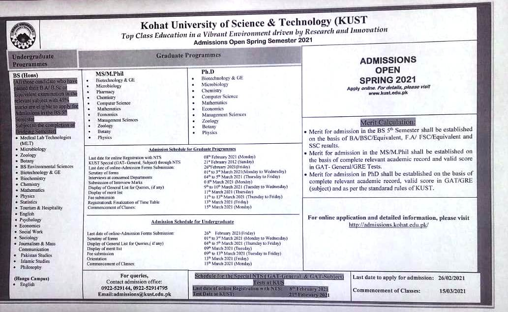 Kohat University of Science & Technology, Kohat Admissions Spring 2021.