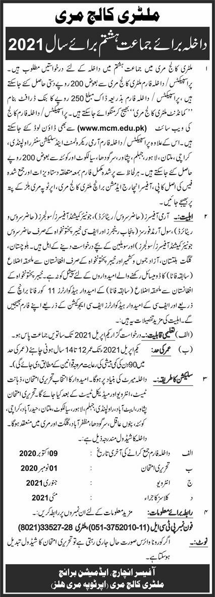military college Murree admission 2020