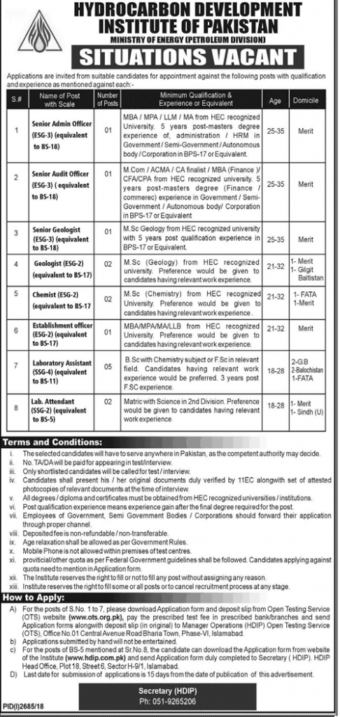 JOBS IN HYDROCARBON DEVELOPMENT INSTITUTE OF PAKISTAN MINISTRY OF ENERGY (PETROLEUM DIVISION)