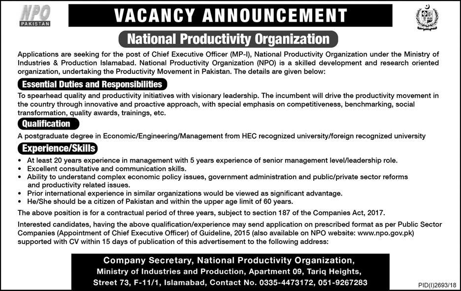 jobs in National Productivity Organization