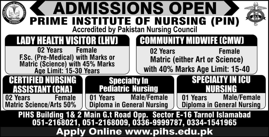 PRIME INSTITUTE OF NURSING (PIN)ADMISSION