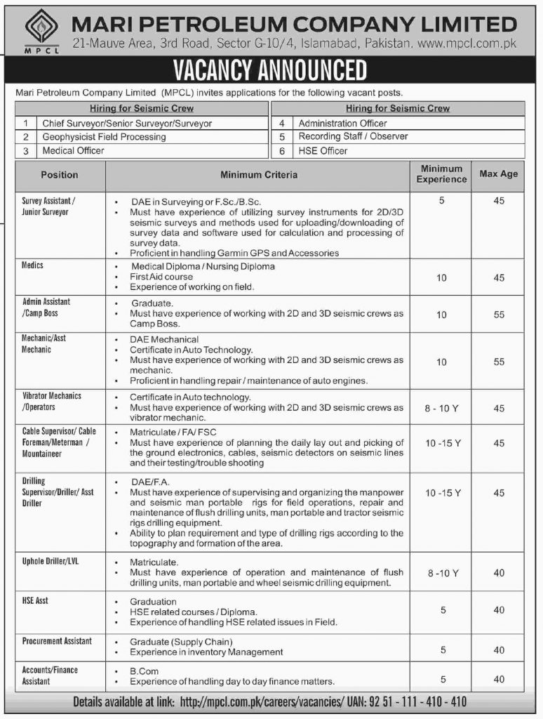 MARI PETROLEUM COMPANY LIMITED JOBS