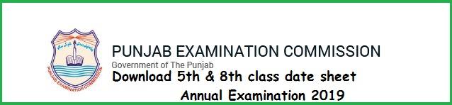 PEC 5th & 8th class Date sheet