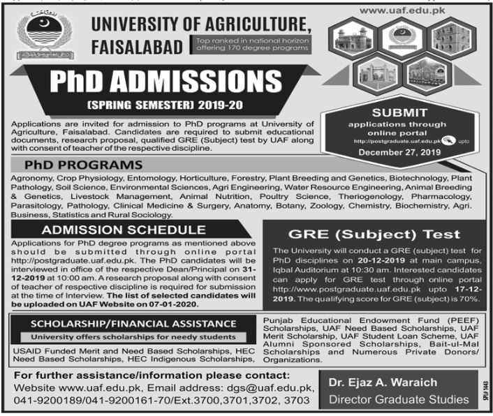 The UNIVERSITY OF AGRICULTURE, FAISALABAD Ph.D. ADMISSIONS(SPRING SEMESTER]