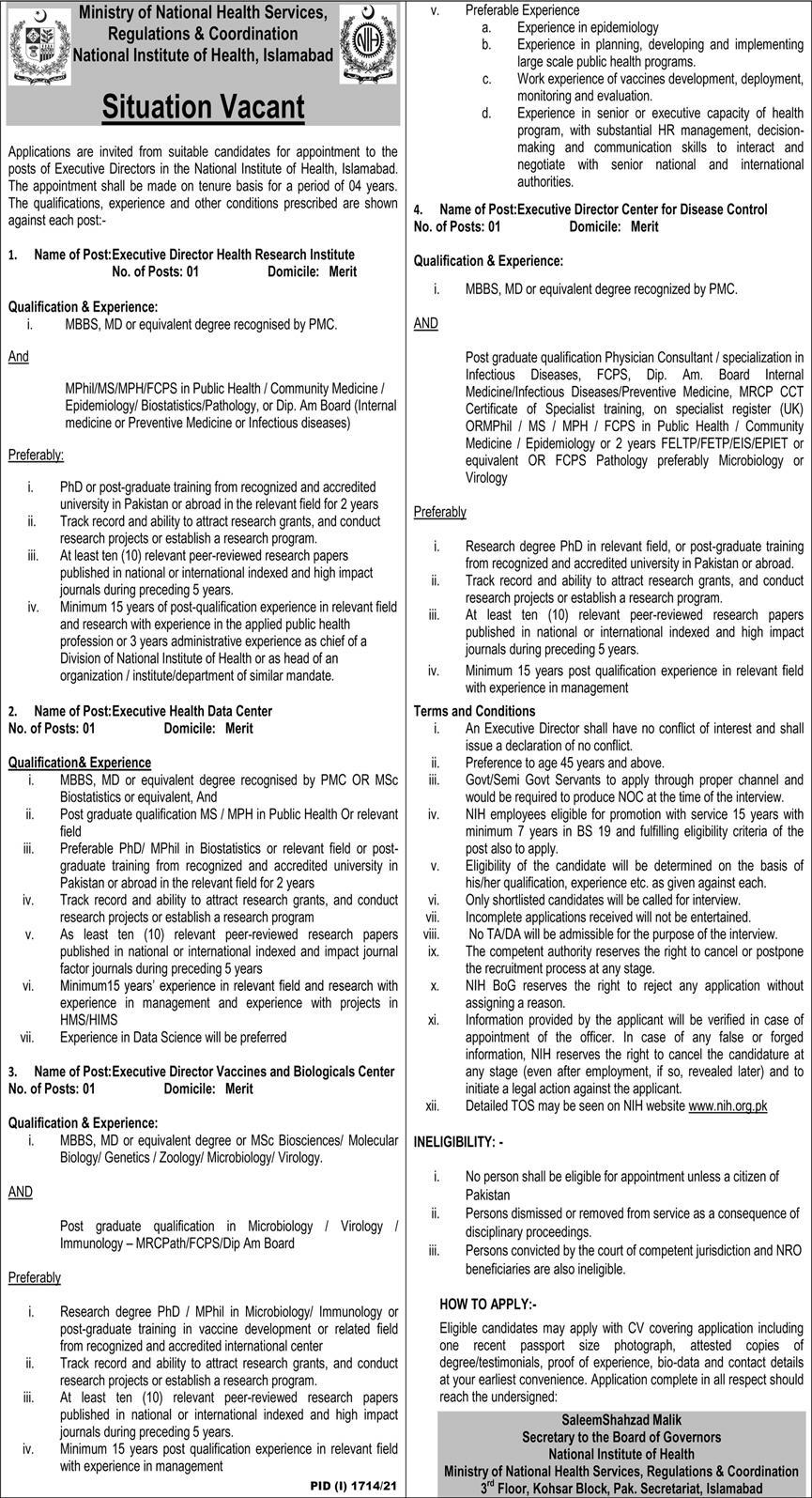 Ministry of National Health Services, Regulations & Coordination National Institute of Health Jobs