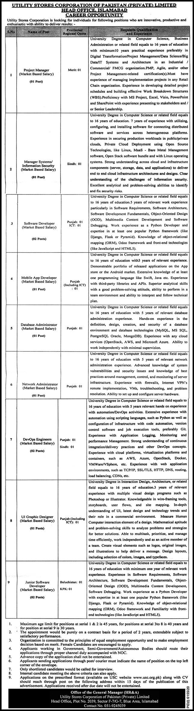 Utility Stores Corporation(USC) Jobs 9th May 2021