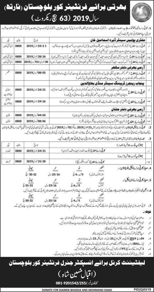 Jobs In Frontier Corps Balochistan 03 Jan 2019