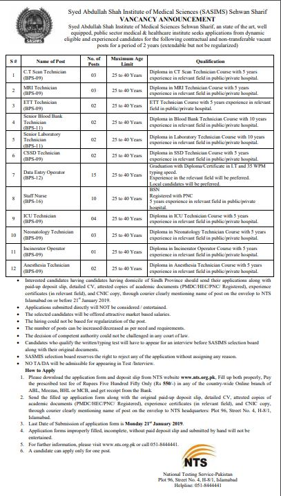 Syed Abdullah Shah Institute of Medical Sciences NTS Jobs