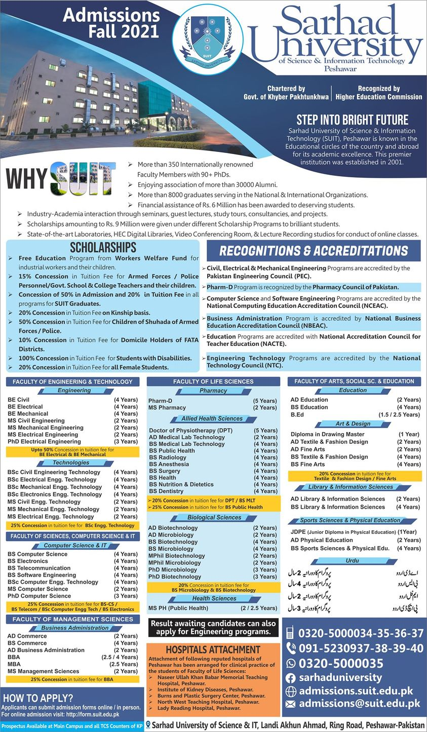 Sarhad University of Science And Information Technology Admission 2021