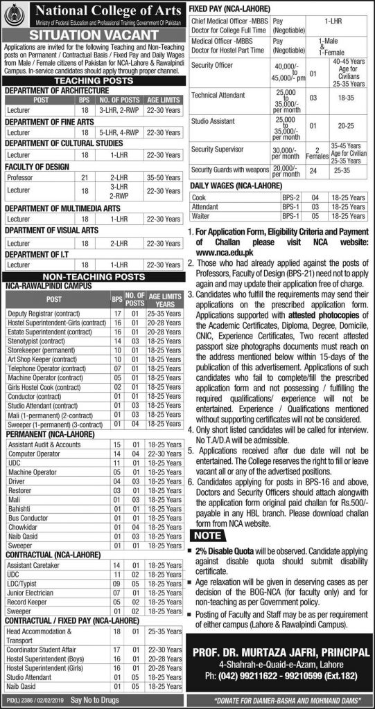 National College of Arts Teaching Jobs