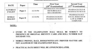 Written Date Sheet of Pharmacy Technician (I Year & II Year)