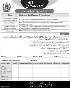 Cantt Public School Shorkot Teacher Jobs