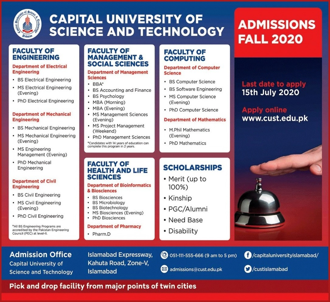 Capital University Of Science and technology admission 2020