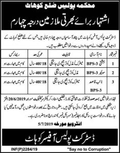 Khyber Pakhtunkhwa Police Department jobs