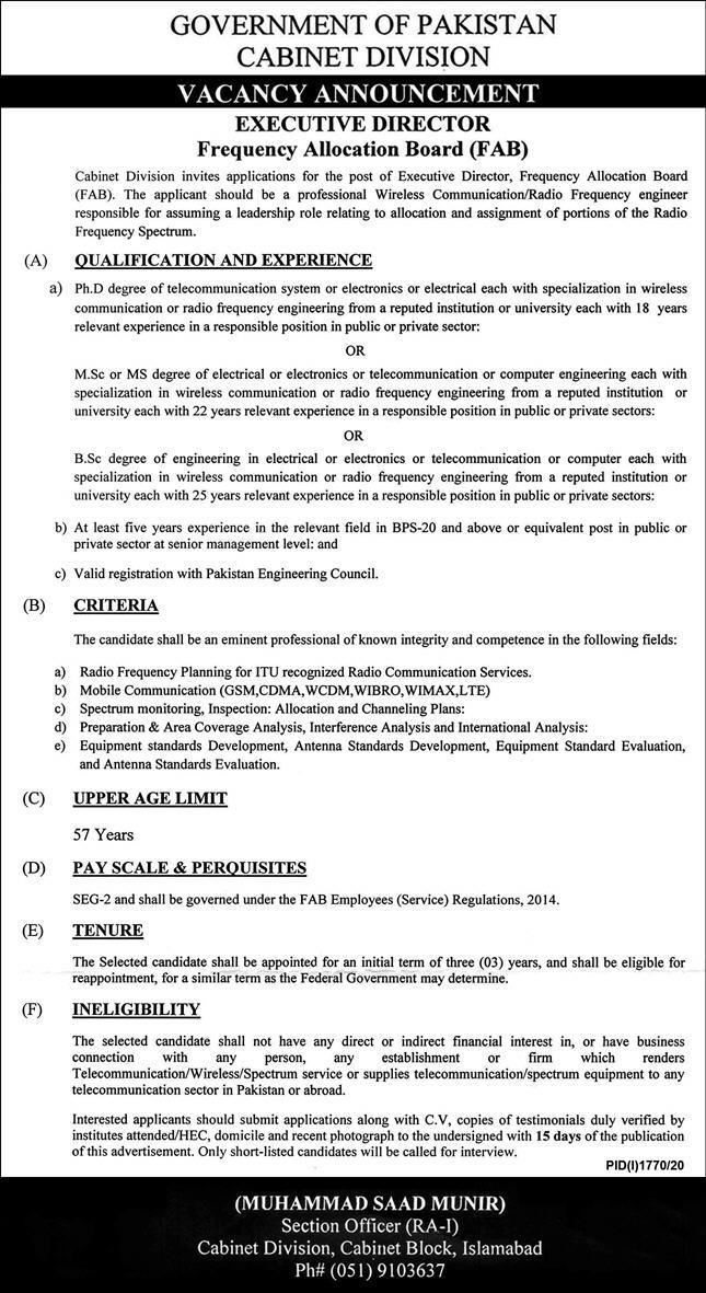 Government Of Pakistan Cabinet Division Jobs 4th October 2020