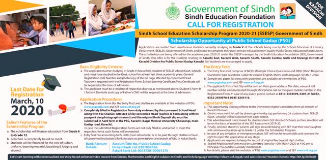 Sindh School Education Scholarship Program (SSESP) Phase III 2020-21