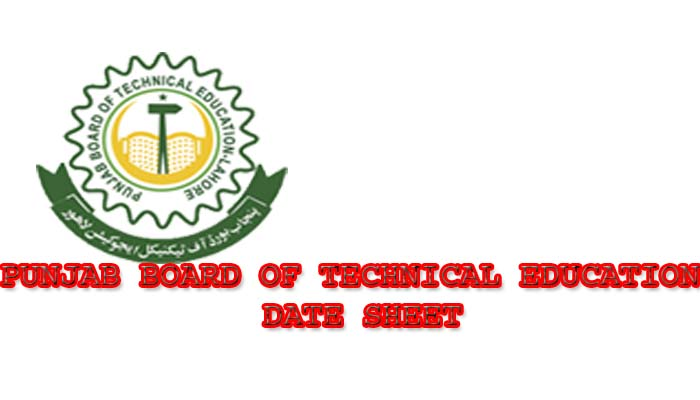 PUNJAB BOARD OF TECHNICAL EDUCATION DATE  SHEET