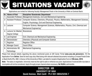 University of Wah Jobs