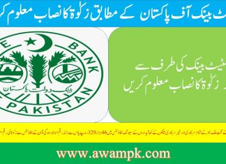 state bank Zakat Nisab 1441/2020 in Pakistan