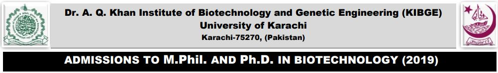 ADMISSIONS to M. Phil. & Ph. D. in BIOTECHNOLOGY (2019)